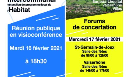 PLUiH - Réunion publique et forums de concertation