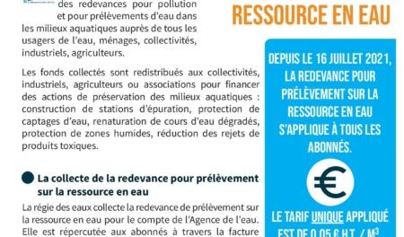 La Régie des Eaux vous informe - Redevance pour le prélèvement sur la ressource en eau